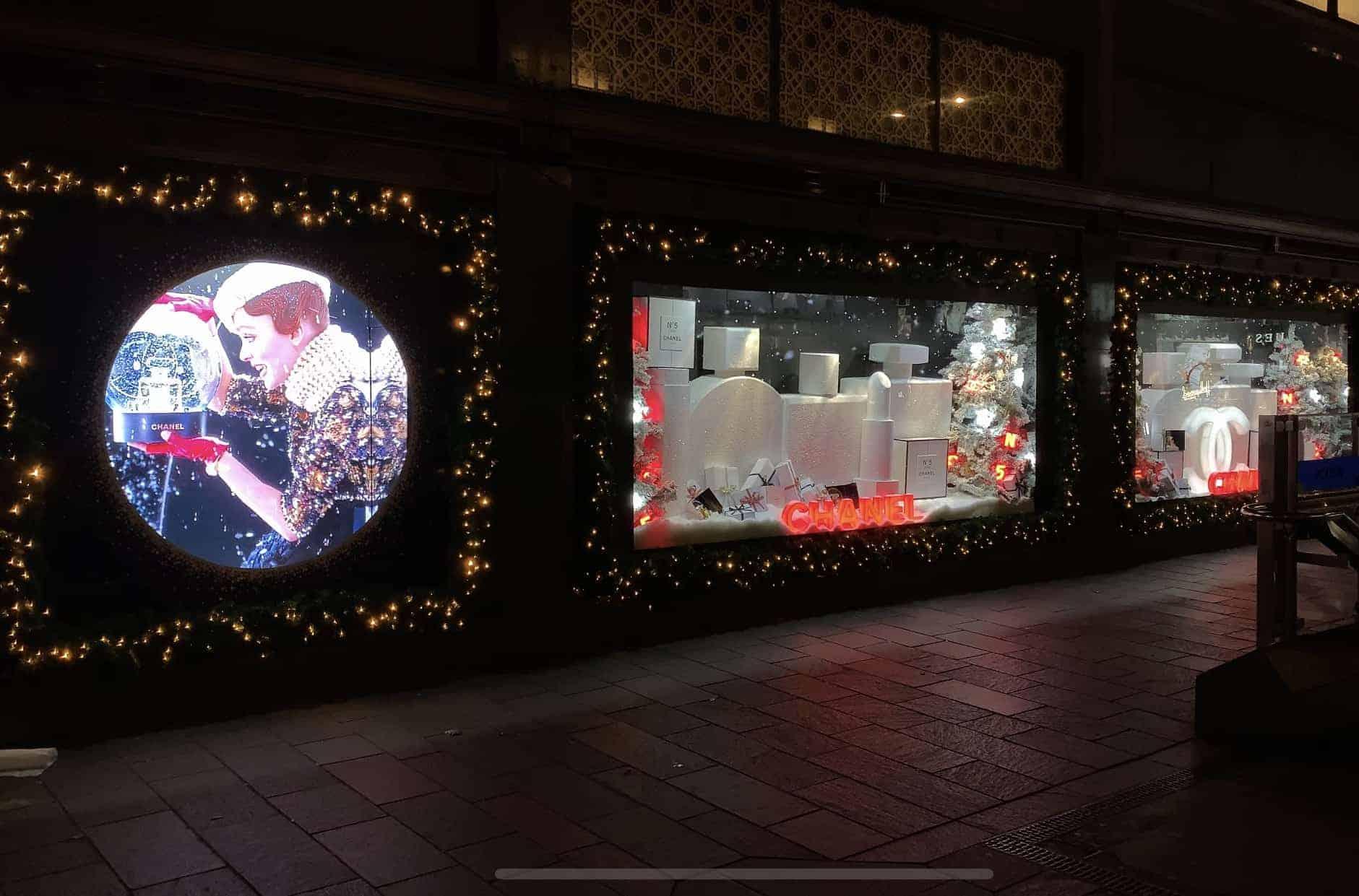 Chanel Christmas windows harrods